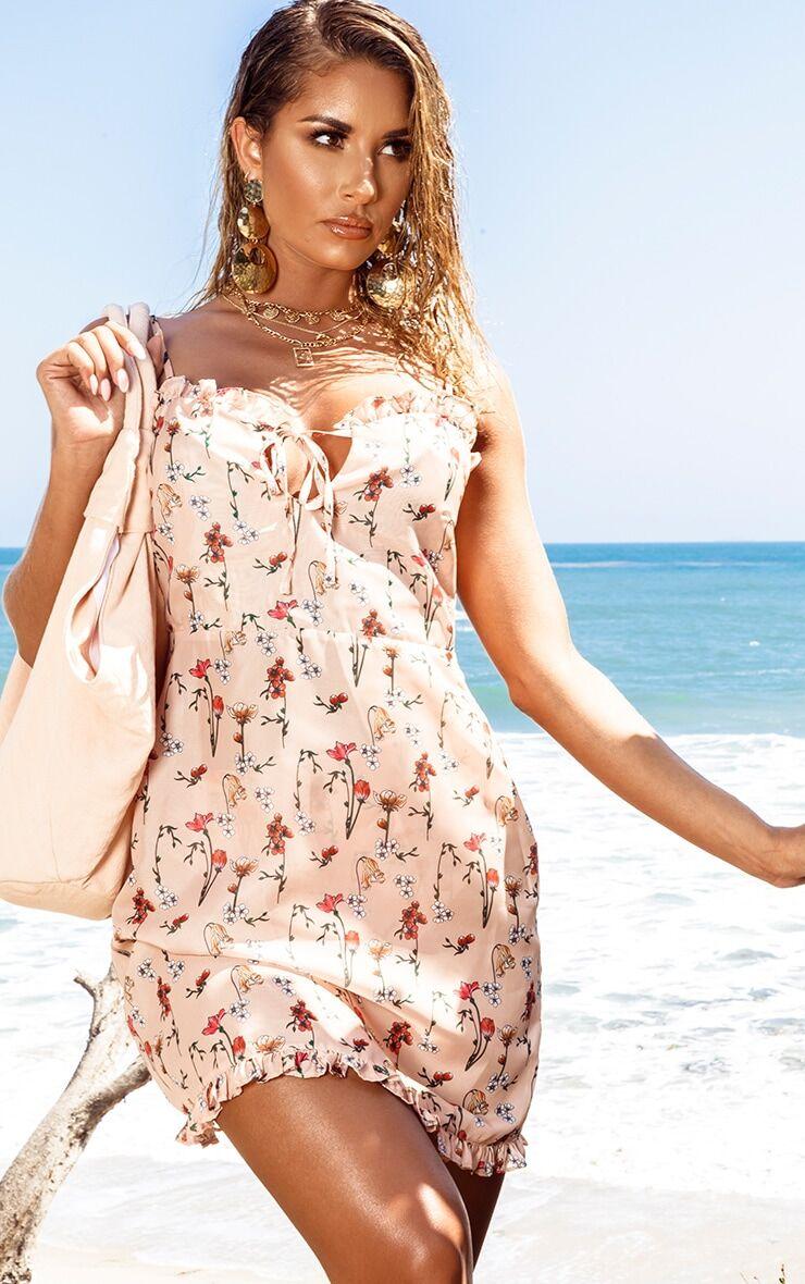 PrettyLittleThing Peach Garden Print Chiffon Mini Beach Dress - Peach - Size: 0