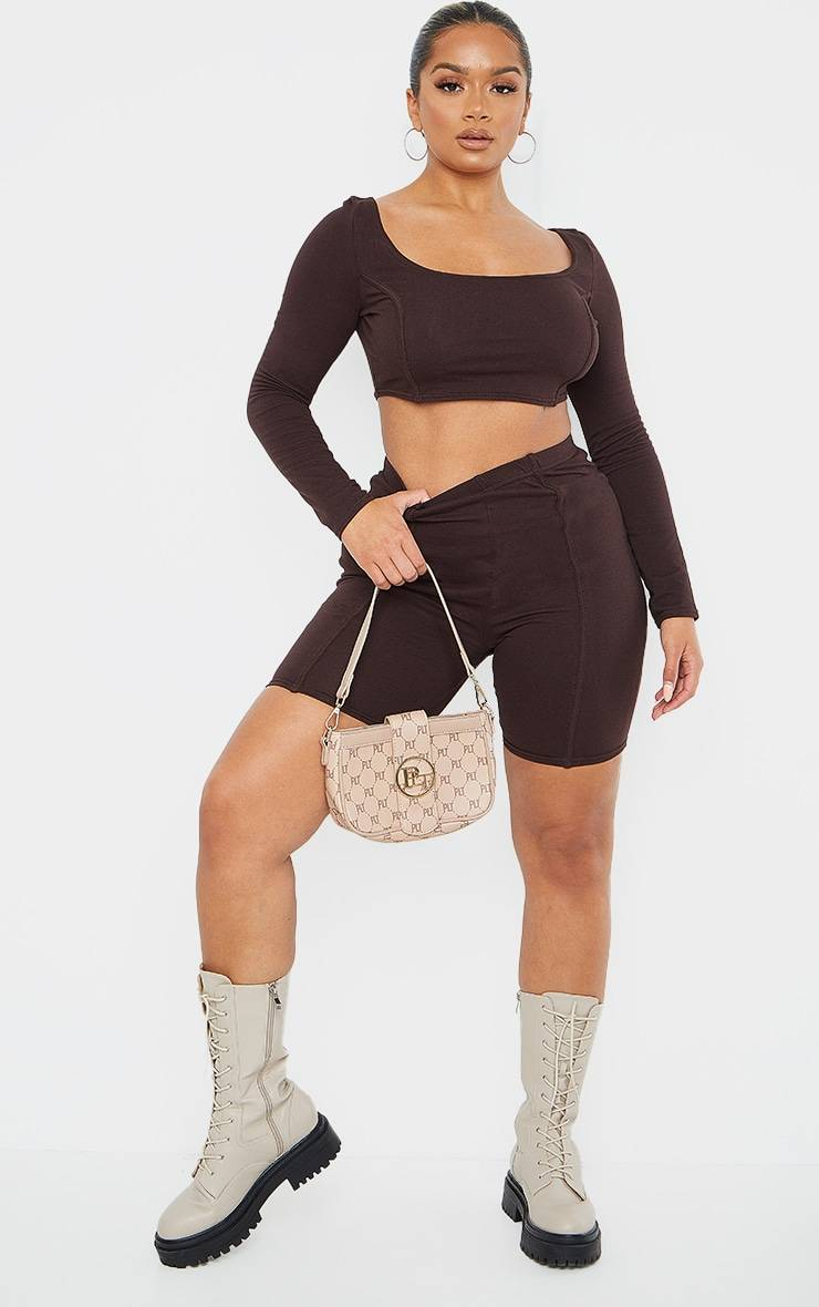 PrettyLittleThing Shape Chocolate Brown Cotton Binding Detail Bike Shorts - Chocolate Brown - Size: 2