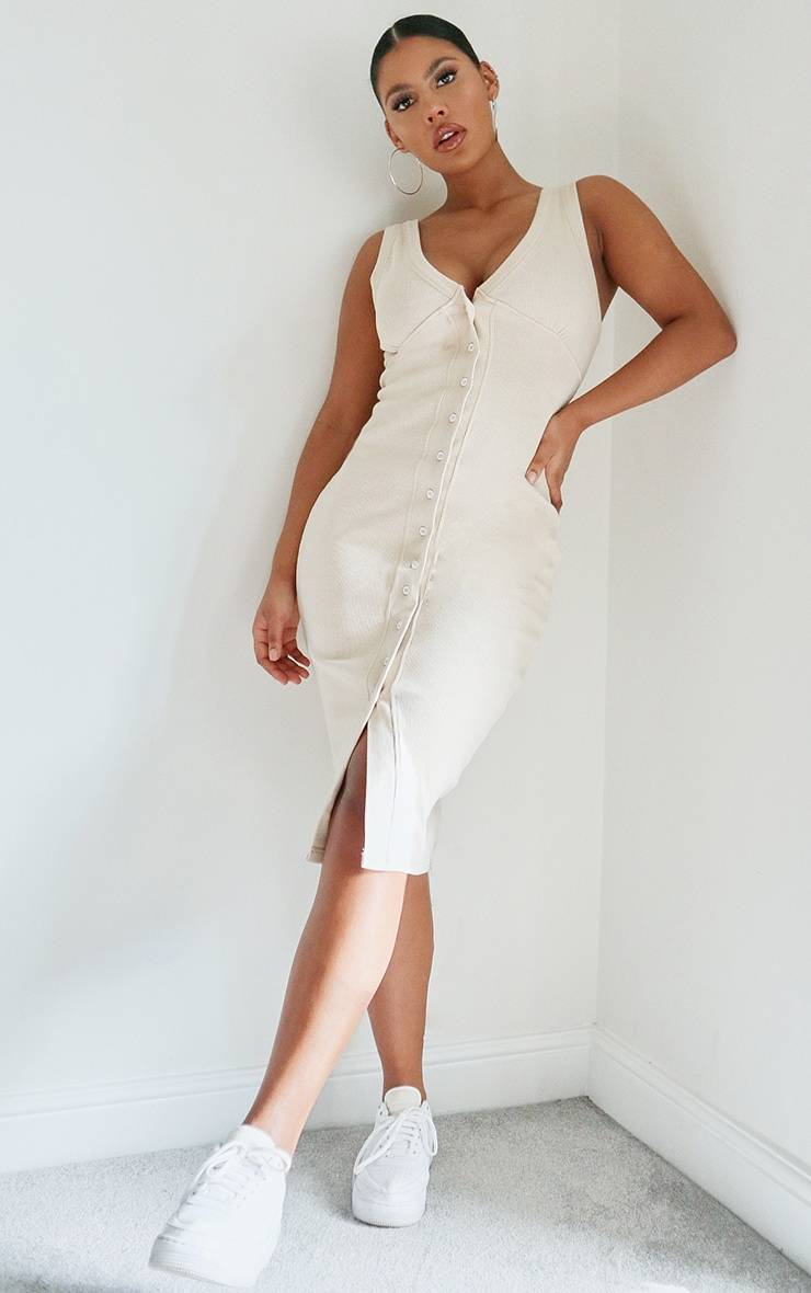 PrettyLittleThing Stone Thick Rib Cup Detail Button Midi Dress - Stone - Size: 2