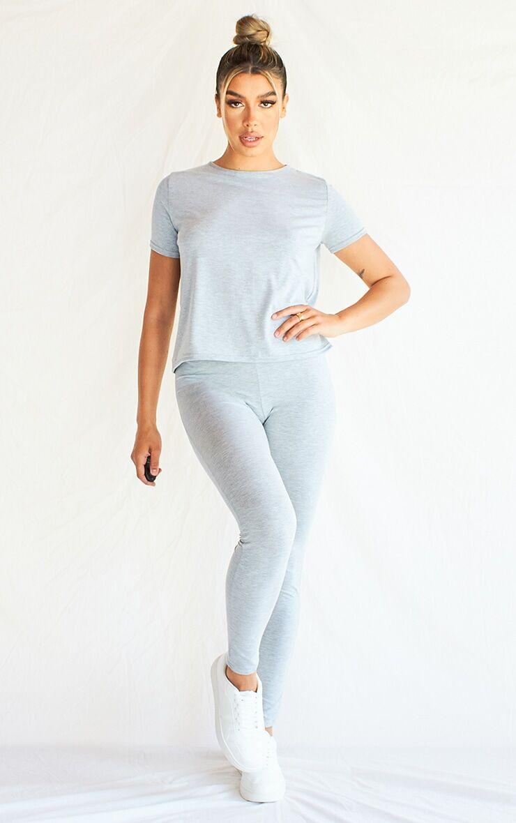 PrettyLittleThing Grey T-Shirt & Legging Set - Grey - Size: 4