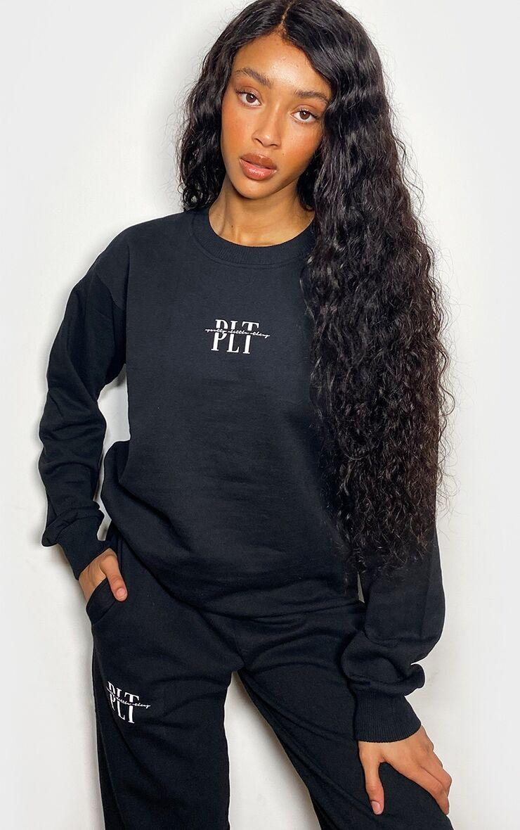 PrettyLittleThingBlack Slogan Print Sweater - Black - Size: L