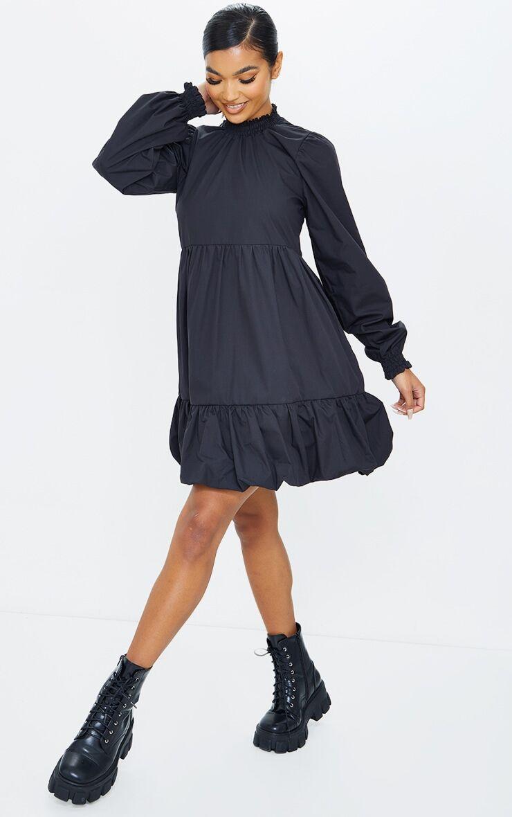 PrettyLittleThing Black Tiered Puffball Hem Smock Dress - Black - Size: 4