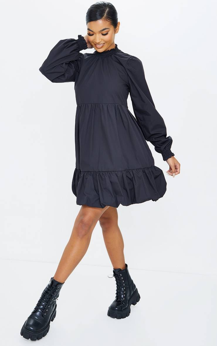 PrettyLittleThing Black Tiered Puffball Hem Smock Dress - Black - Size: 0