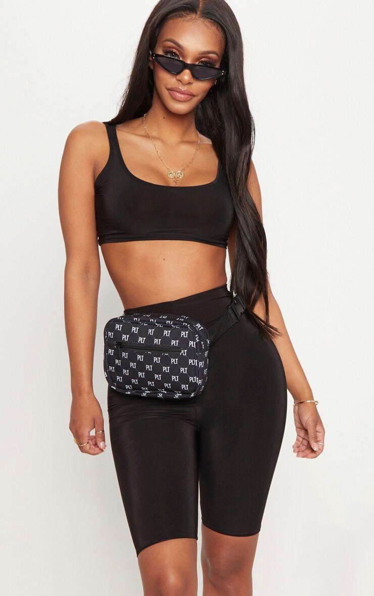 PrettyLittleThing Shape Black Slinky Bike Shorts - Black - Size: 8