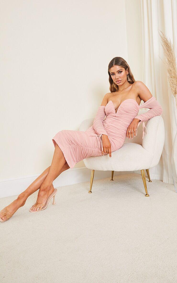 PrettyLittleThing Blush Mesh V Bar Ruched Detail Bardot Midi Dress - Blush - Size: 6