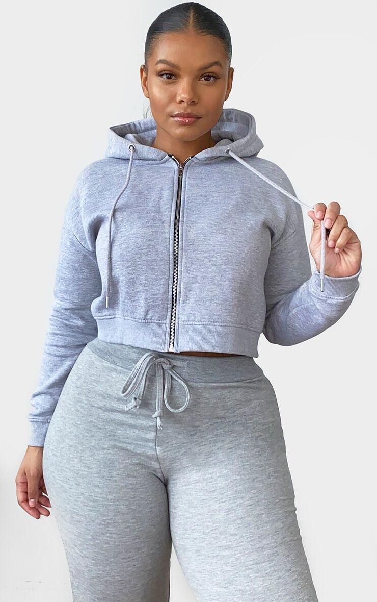 PrettyLittleThing Plus Grey Crop Zip Hoodie - Grey - Size: 18