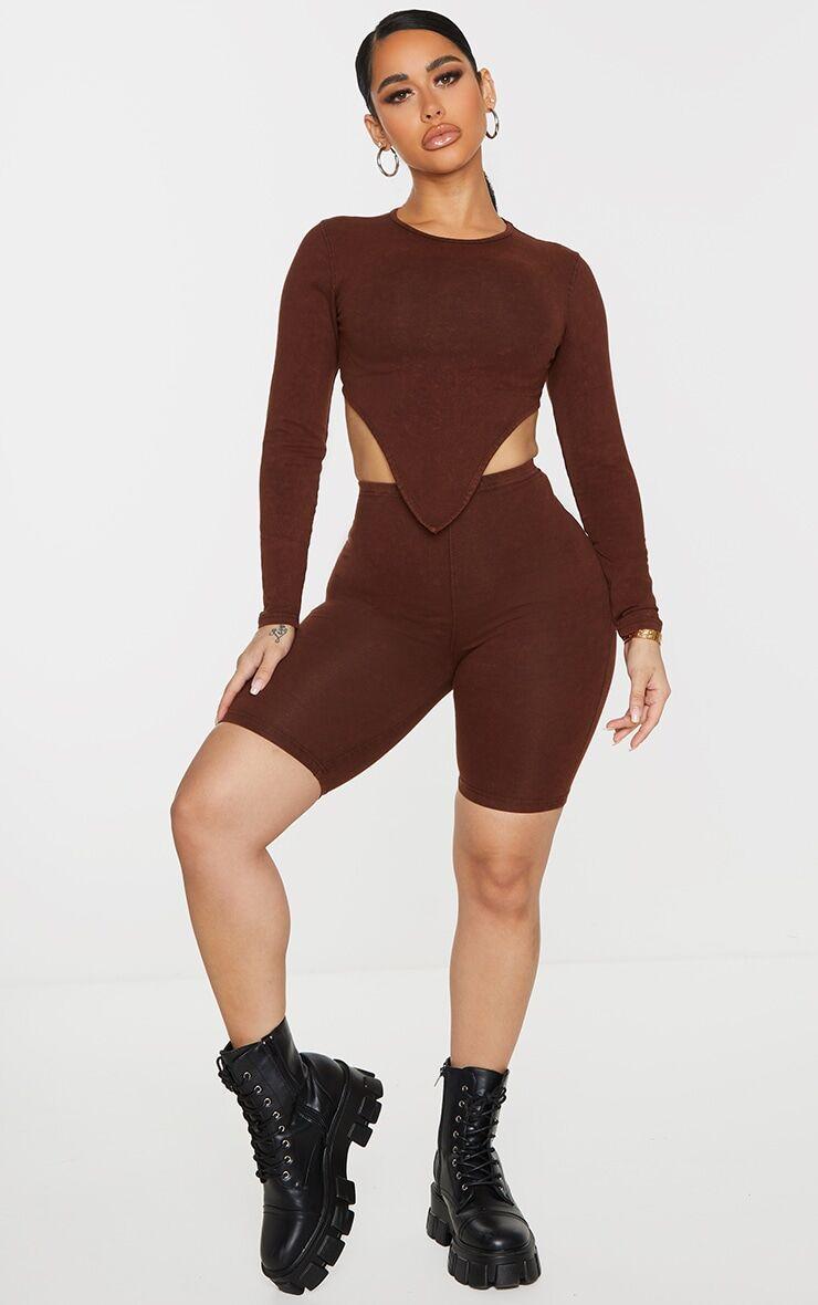 PrettyLittleThing Shape Brown Acid Wash Cotton Bike Shorts - Brown - Size: 8