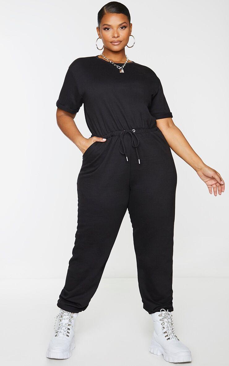 PrettyLittleThing Plus Black Short Sleeve Sweat Jumpsuit - Black - Size: 16