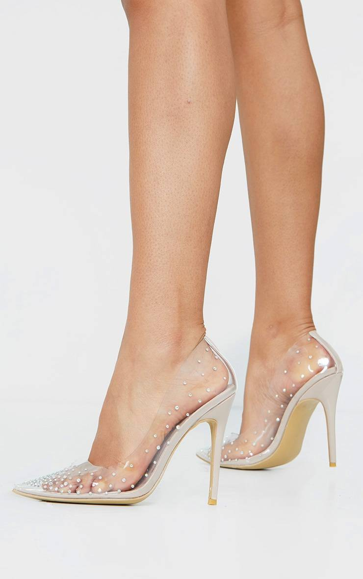 PrettyLittleThing Clear Diamante Court Shoes - Clear - Size: 5