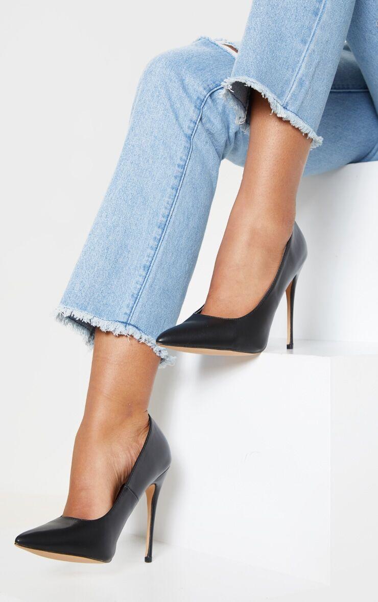PrettyLittleThing Black PU Court Shoes - Black - Size: 10