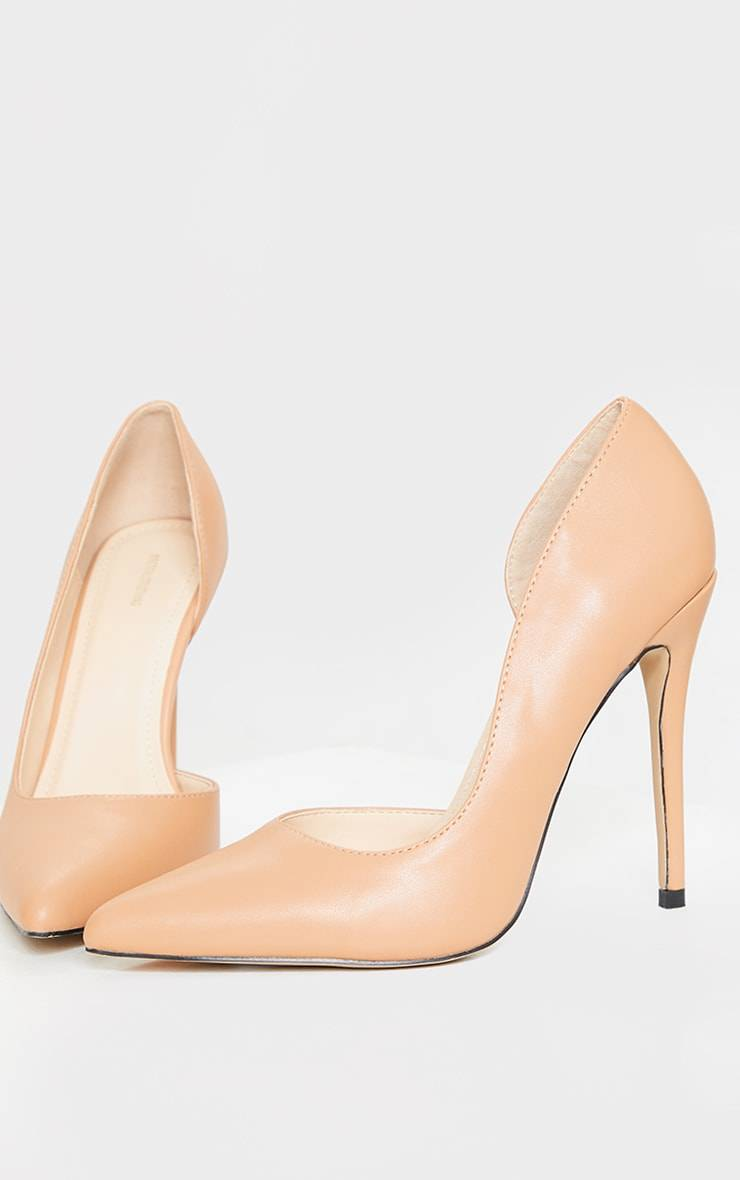 PrettyLittleThing Tan Point Toe Cut Out Side Stiletto Court Shoes - Tan - Size: 10