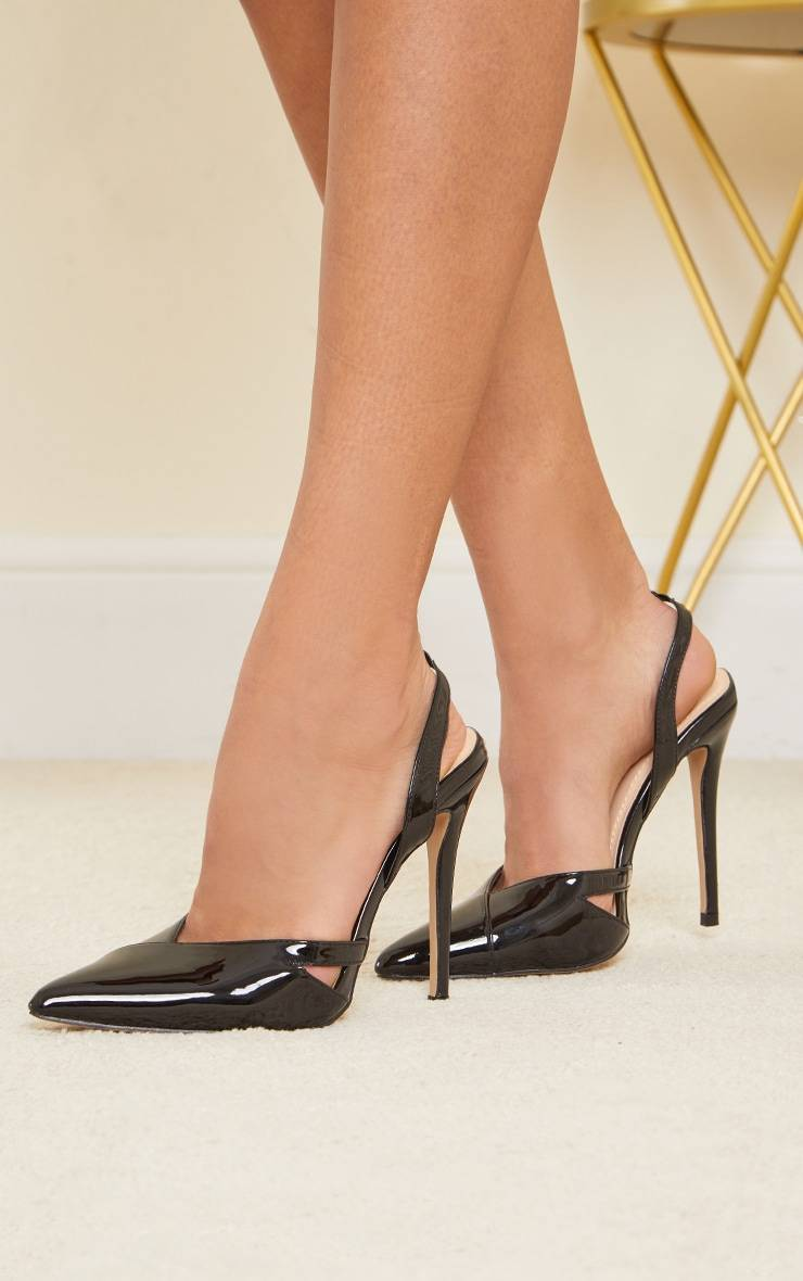 PrettyLittleThing Black Patent Pu Sling Back Cut Out High Heel Court Shoes - Black - Size: 5