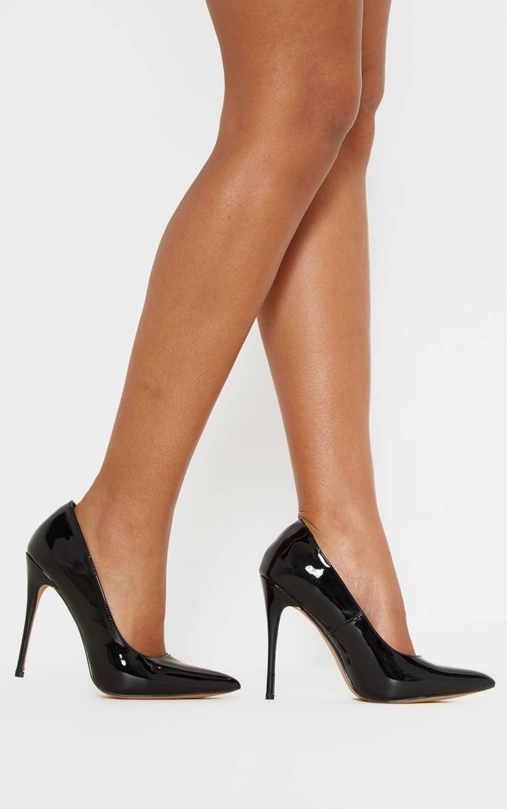PrettyLittleThing Black Court Shoes - Black Patent - Size: 7