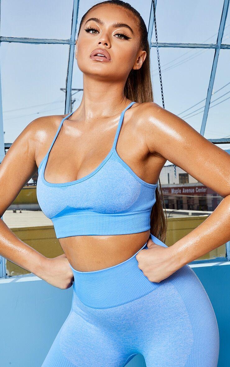 PrettyLittleThing Blue Seamless Longline Sports Bra Top - Blue - Size: L