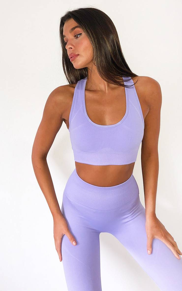 PrettyLittleThing Lilac Seamless Scoop Neck Sports Bra - Lilac - Size: L