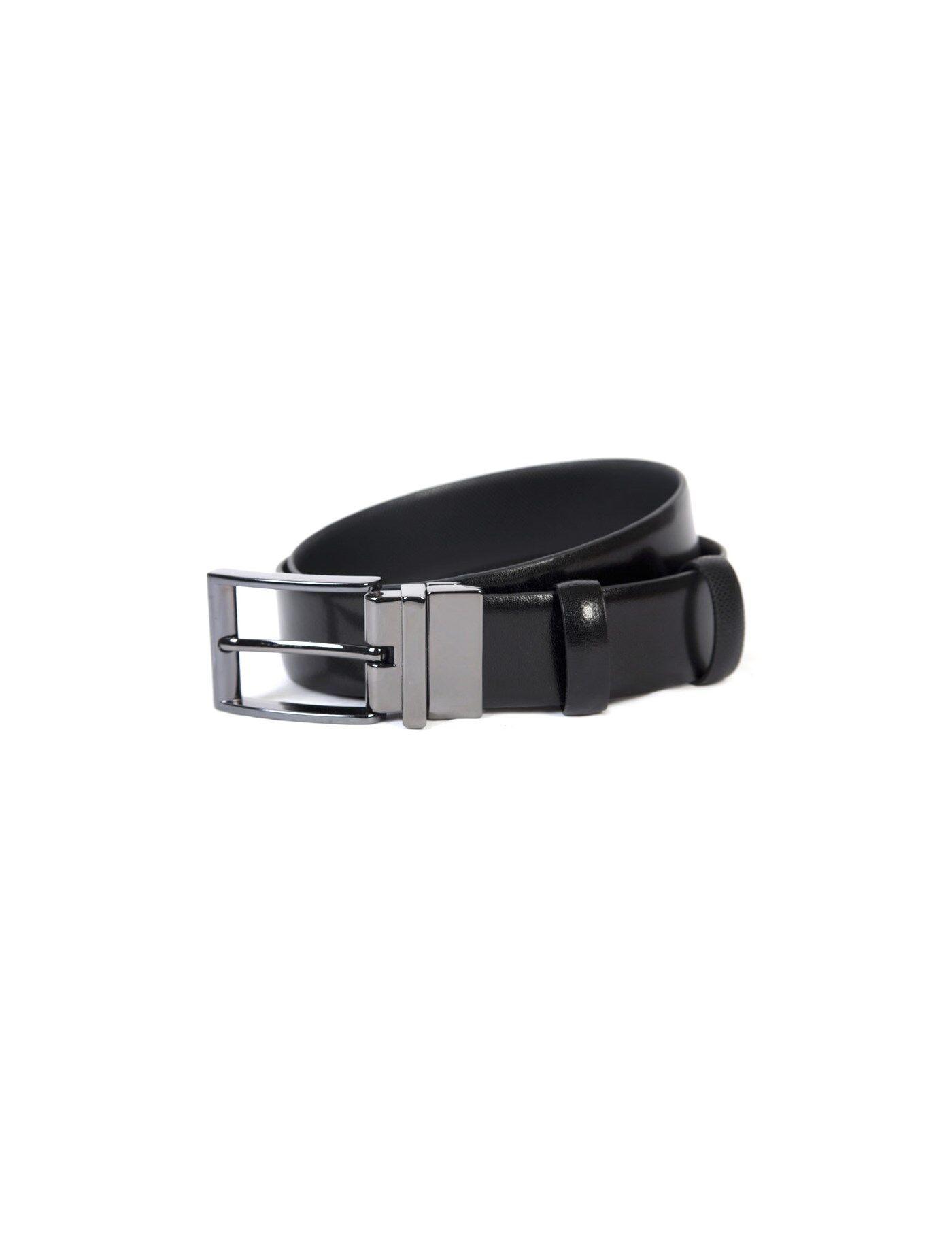 Hawes & Curtis Men's Textured Reversible Leather Belt in Black Medium