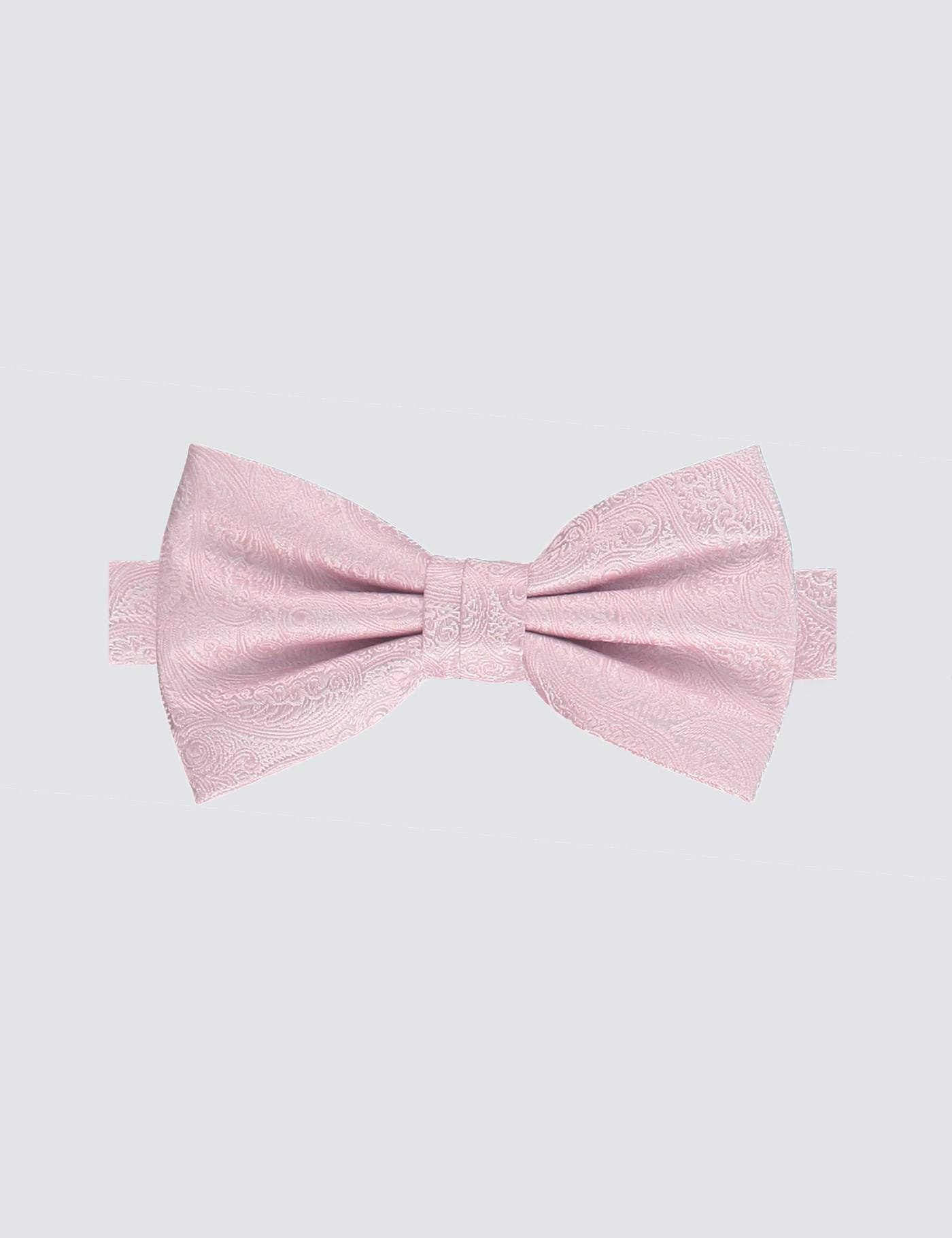 Hawes & Curtis Men's Paisley Ready Tied Bow Tie in Light Pink 100% Silk