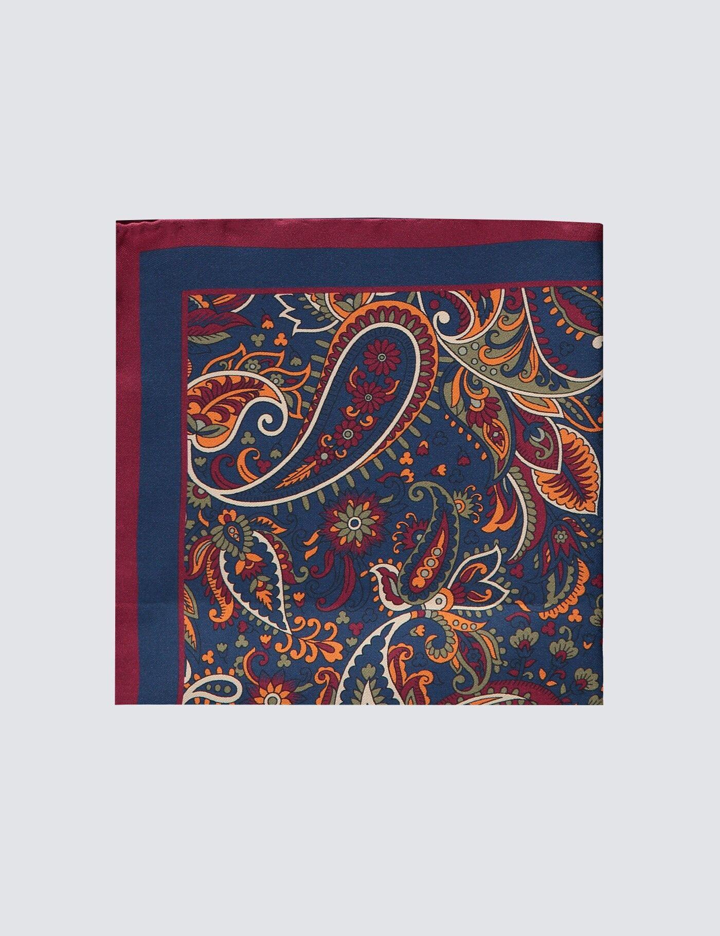 Hawes & Curtis Men's Floral Print Handkerchief in Navy/Orange 100% Silk