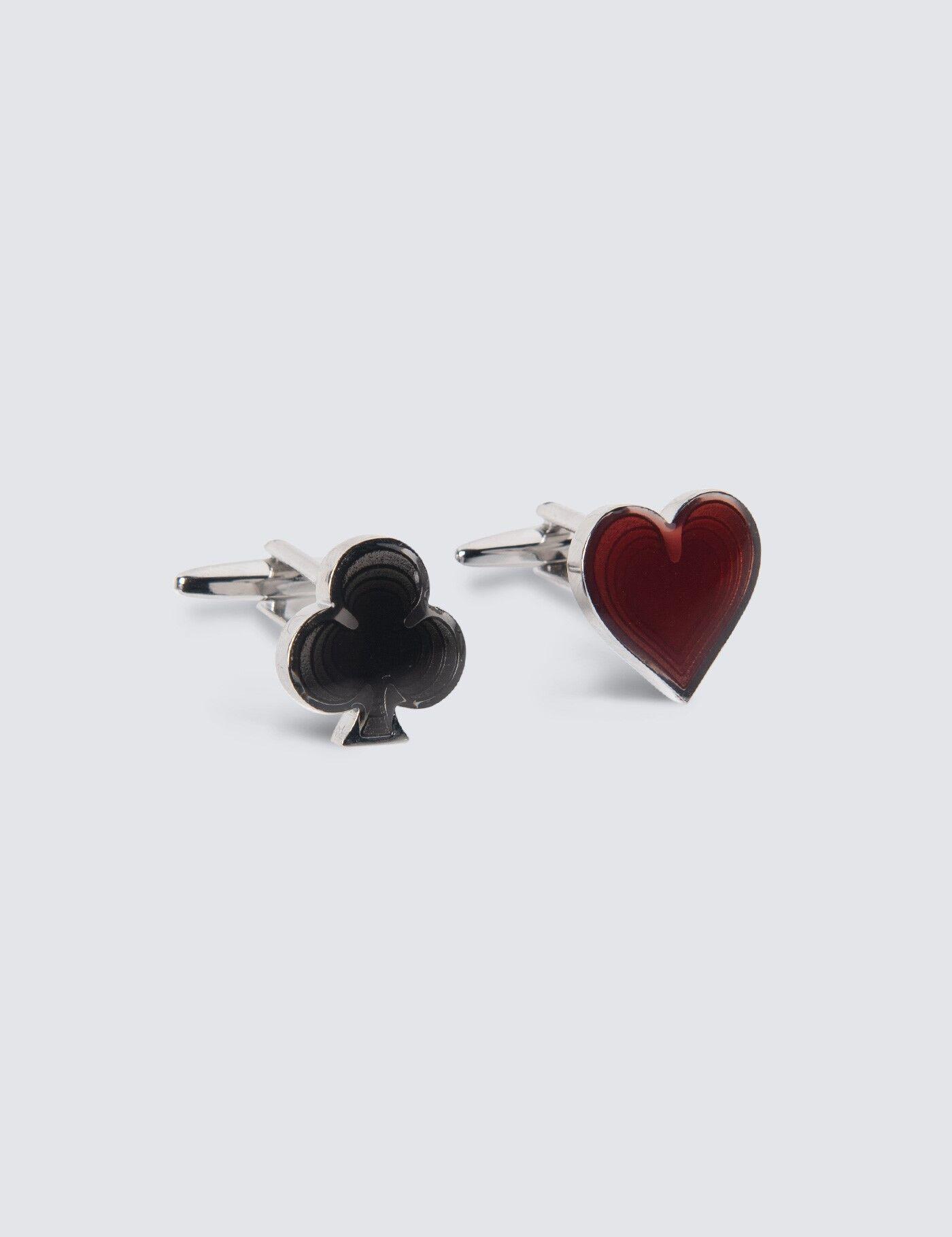 Hawes & Curtis Women's Spade & Heart Cufflinks in Black/Red