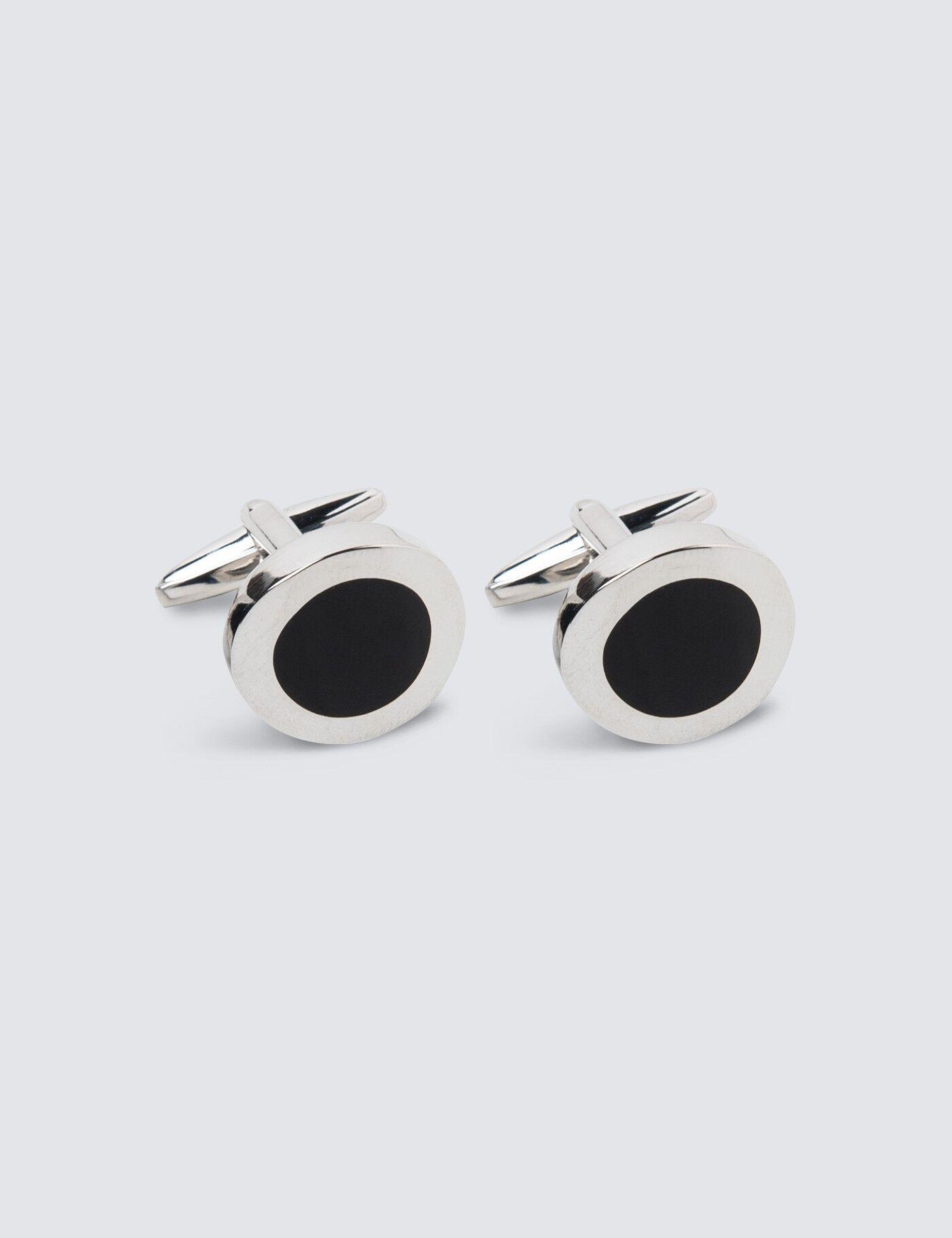 Hawes & Curtis Men's Round Cufflink in Black/Silver