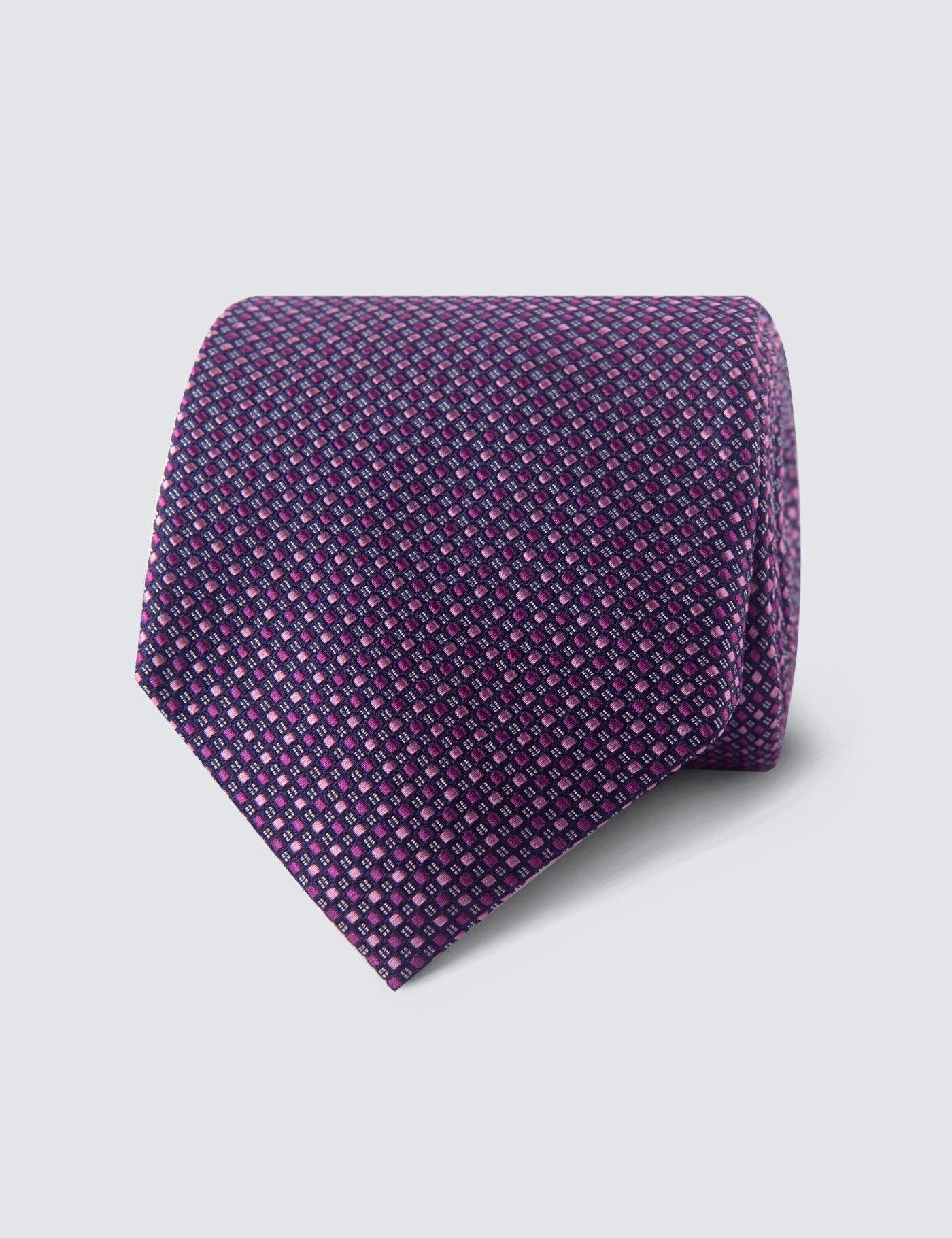 Hawes & Curtis Men's 2 Tone Squares Tie in Pink 100% Silk Hawes & Curtis