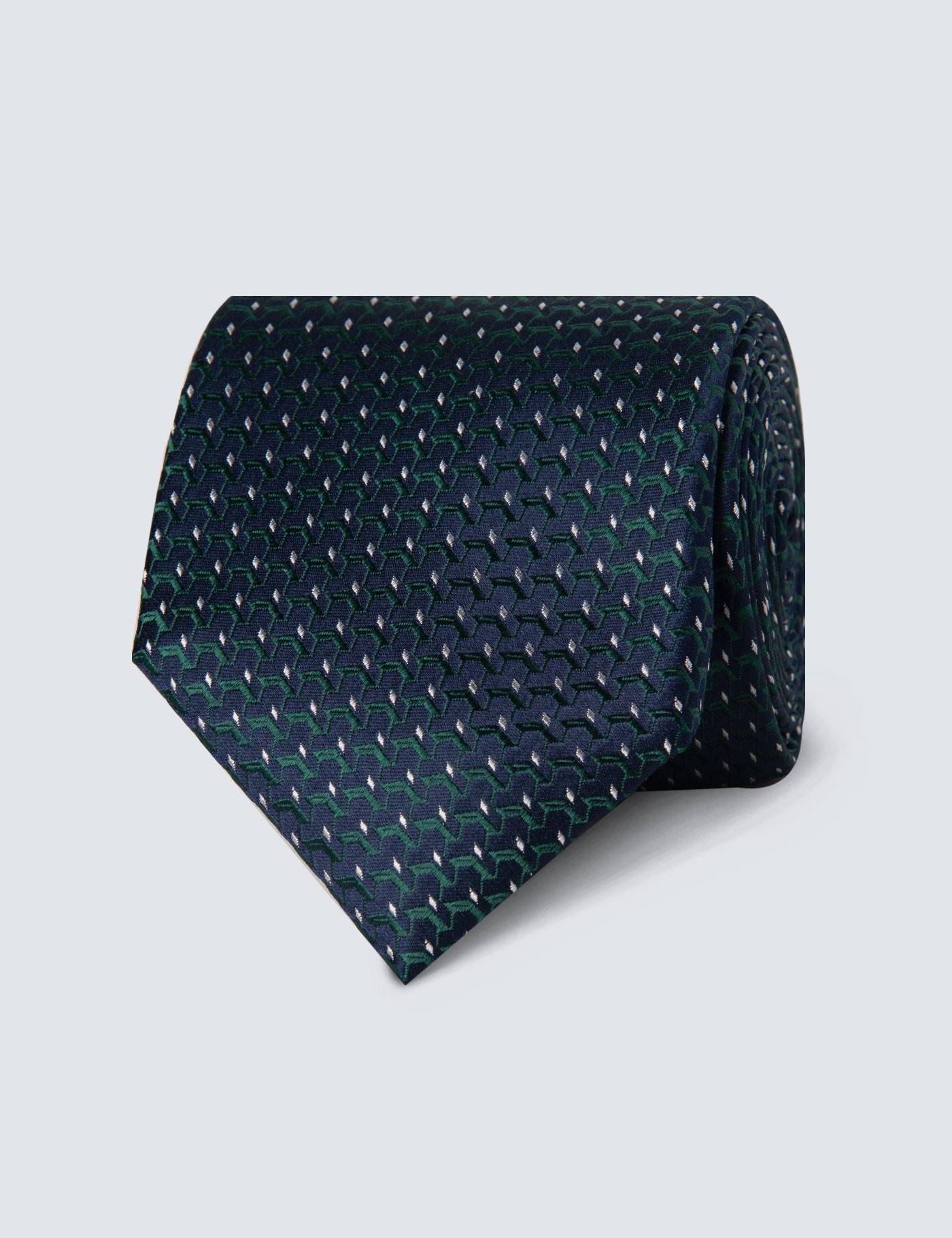 Hawes & Curtis Men's Woven Links Tie in Navy/Green 100% Silk Hawes & Curtis