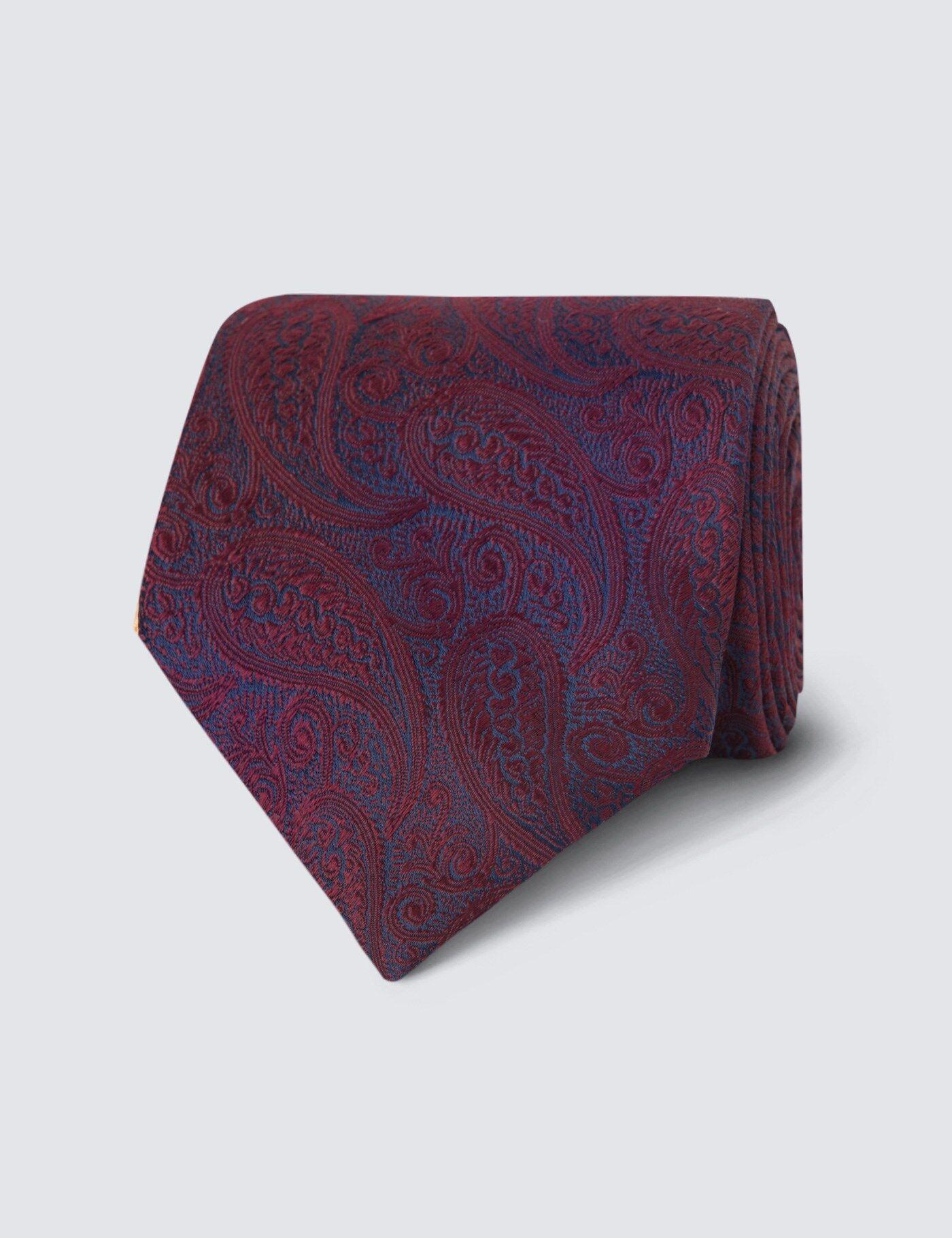 Hawes & Curtis Men's Luxury Paisley Tie in Burgundy 100% Silk