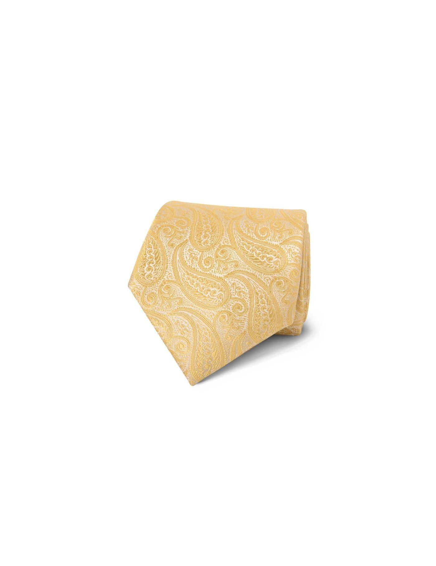 Hawes & Curtis Men's Luxury Paisley Tie in Yellow 100% Silk