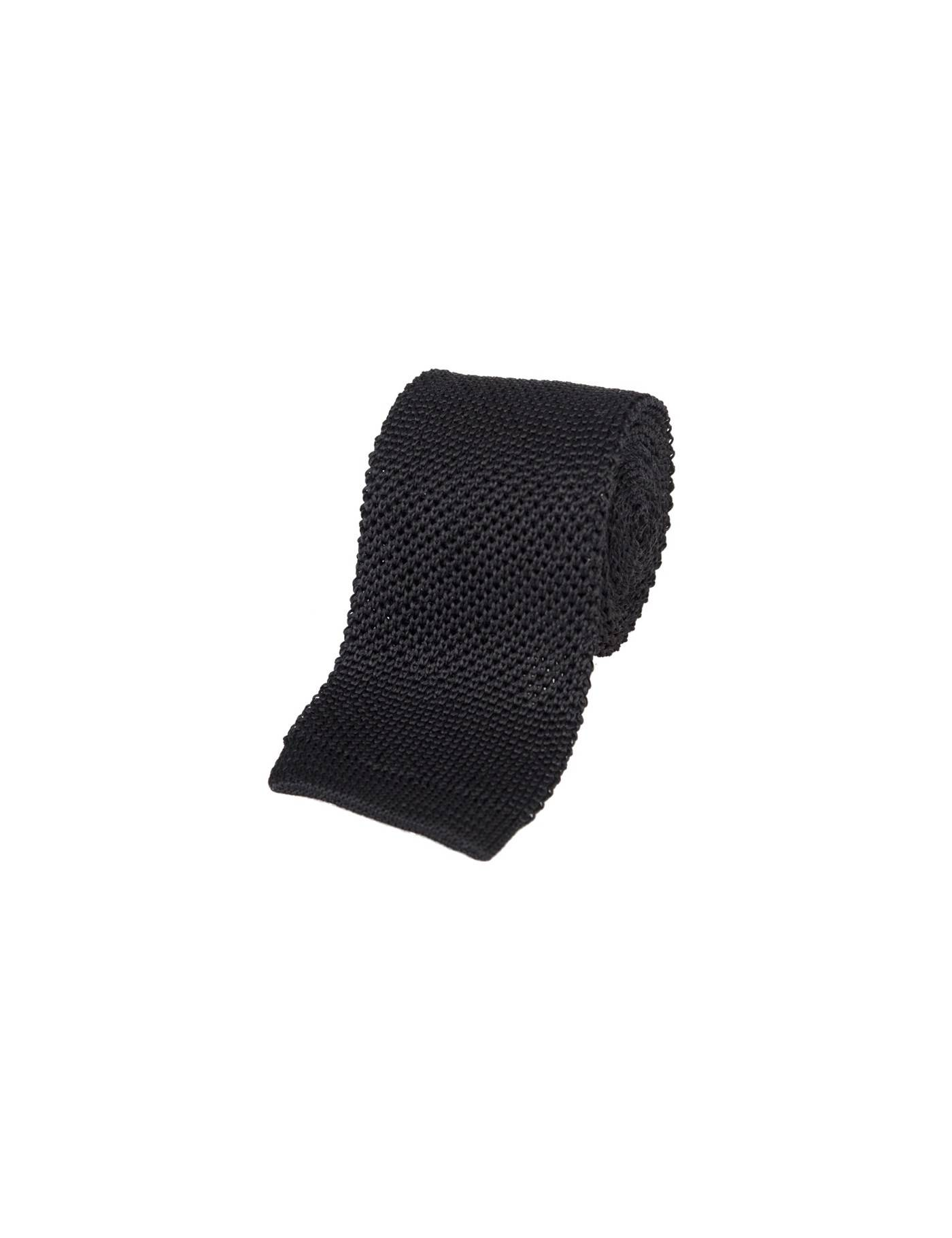 Hawes & Curtis Men's Knitted Tie in Black 100% Silk Hawes & Curtis