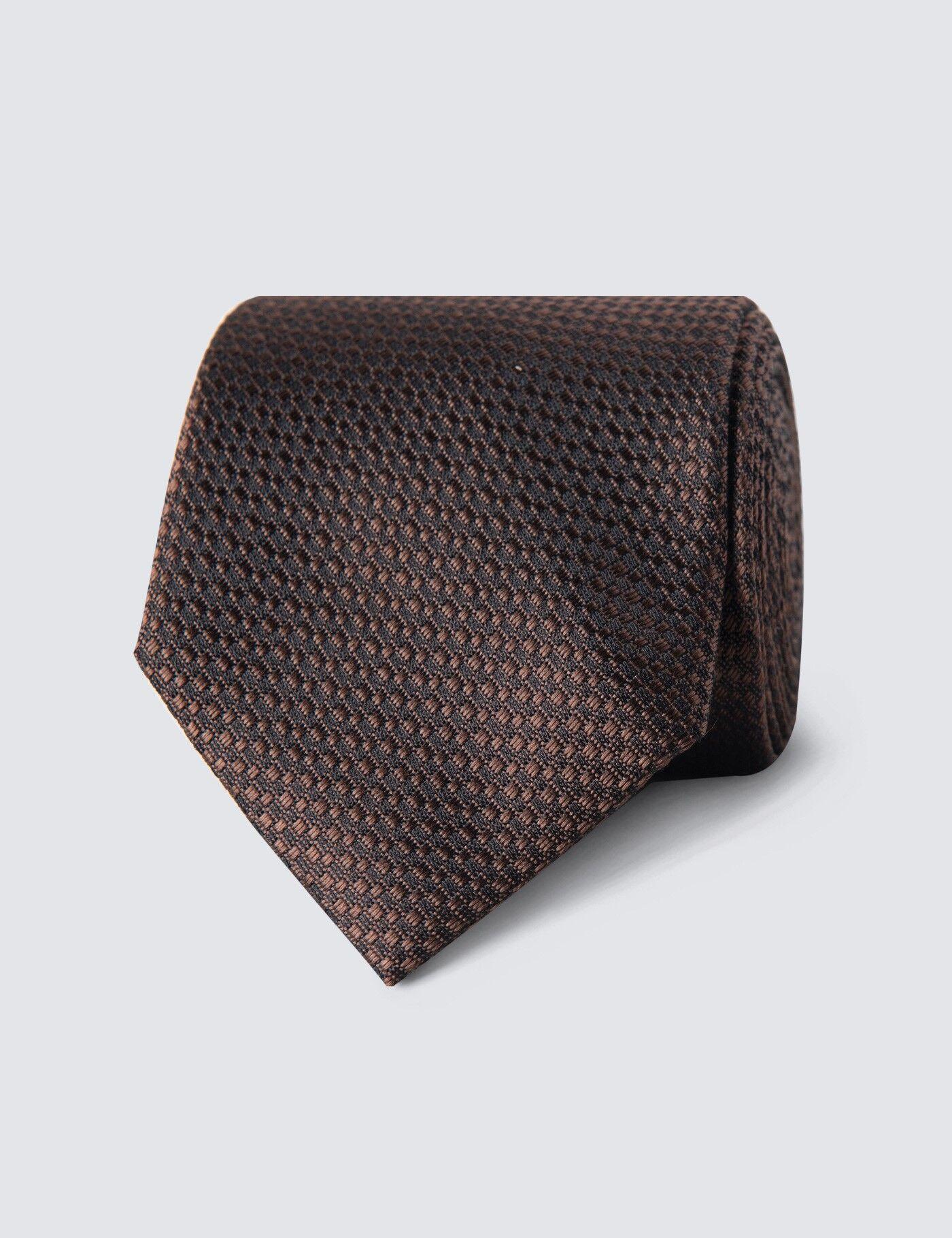 Hawes & Curtis Men's Textured Tie in Brown 100% Silk