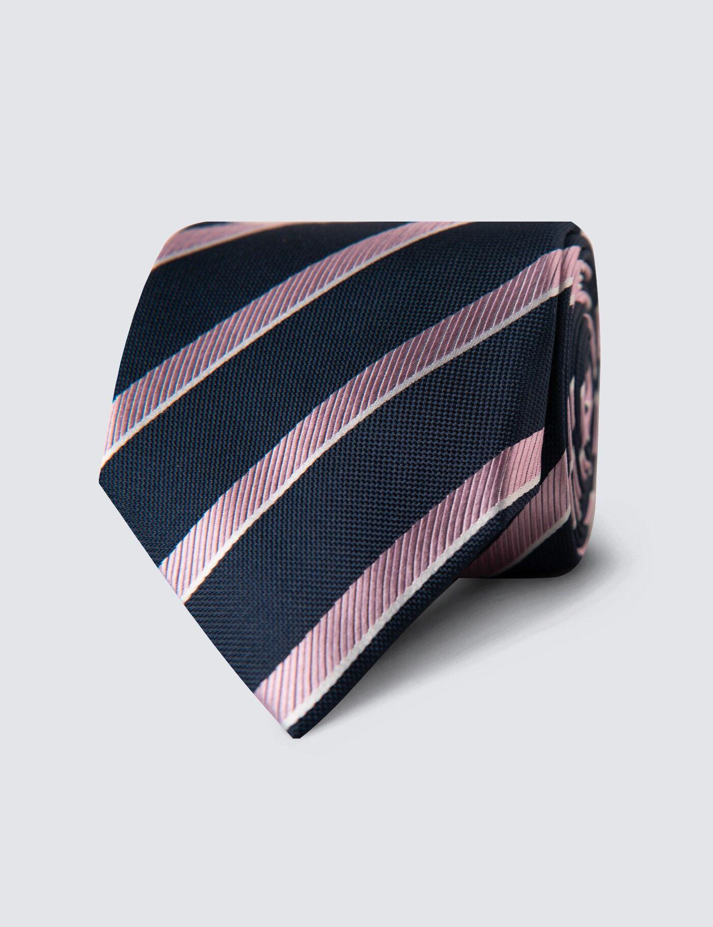 Hawes & Curtis Men's Club Stripe Tie in Navy/Light Pink 100% Silk