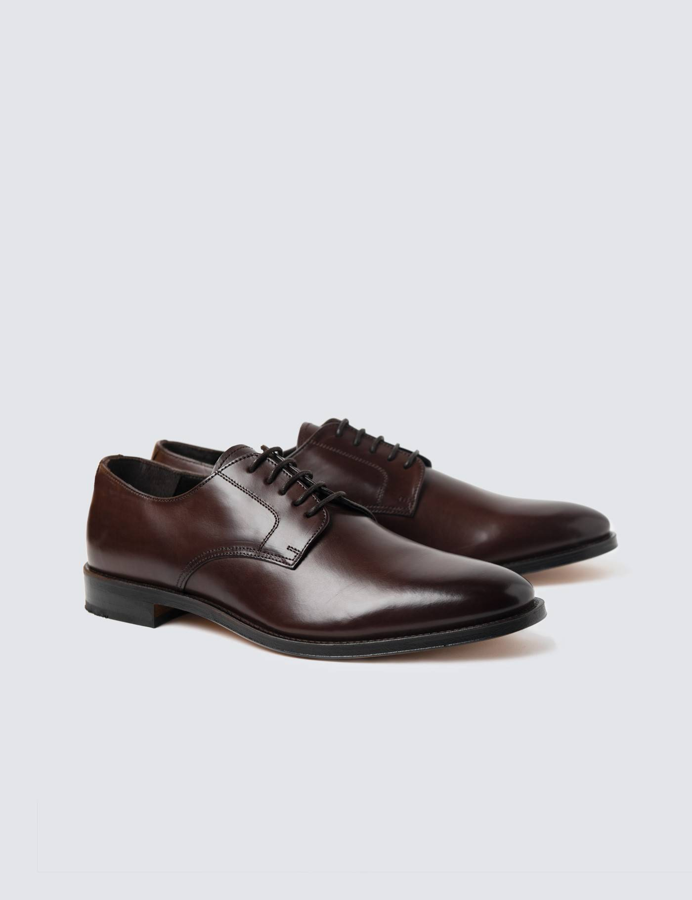 Hawes & Curtis Men's Leather Plain Derby Shoes in Brown Size 10.5