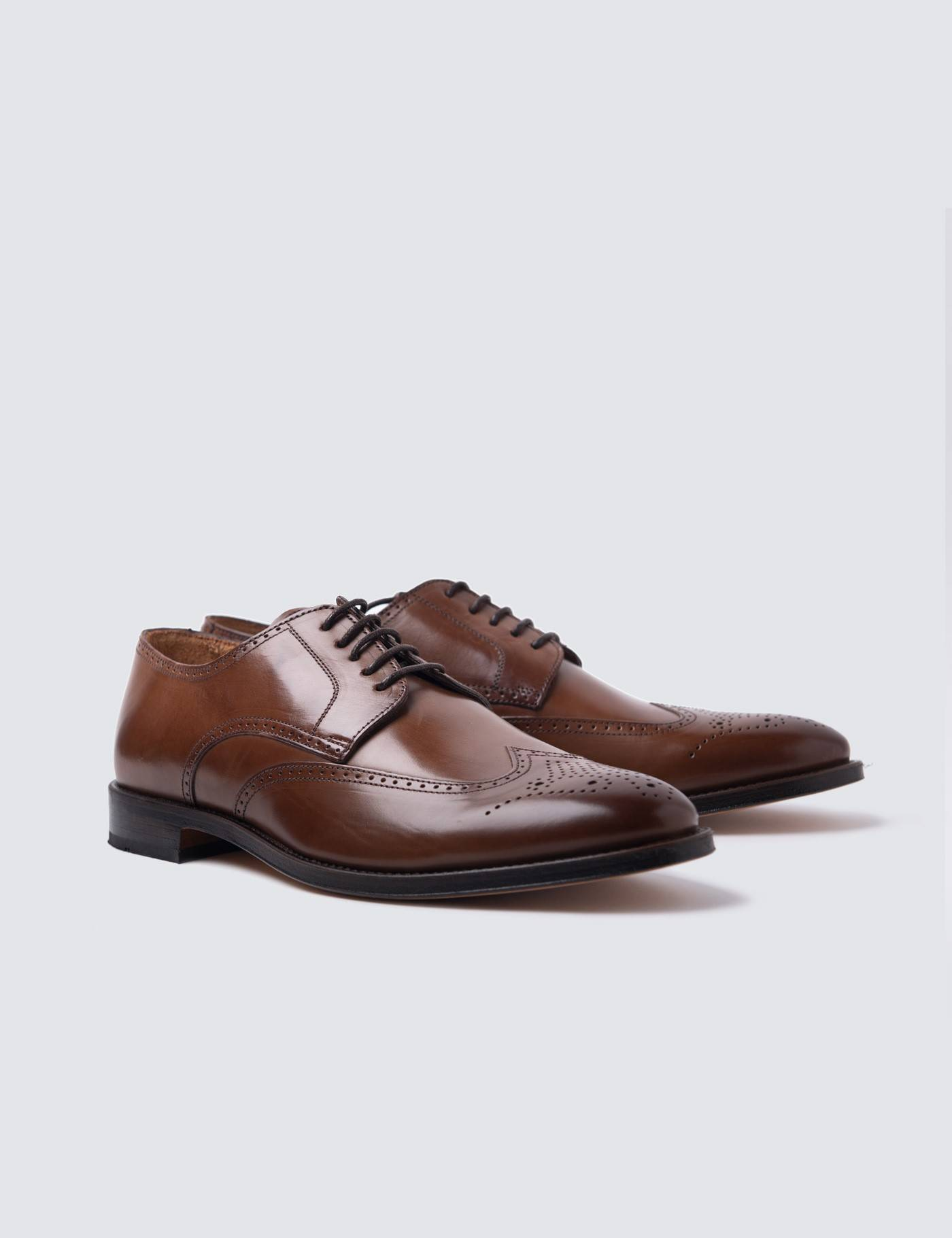 Hawes & Curtis Men's Leather Derby Brogue Shoes in Tan Size 11