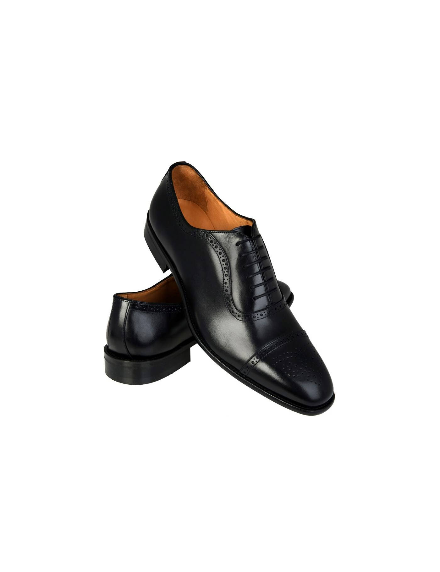 Hawes & Curtis Men's Leather Toe Cap Semi Brogue Shoes in Black Size 10