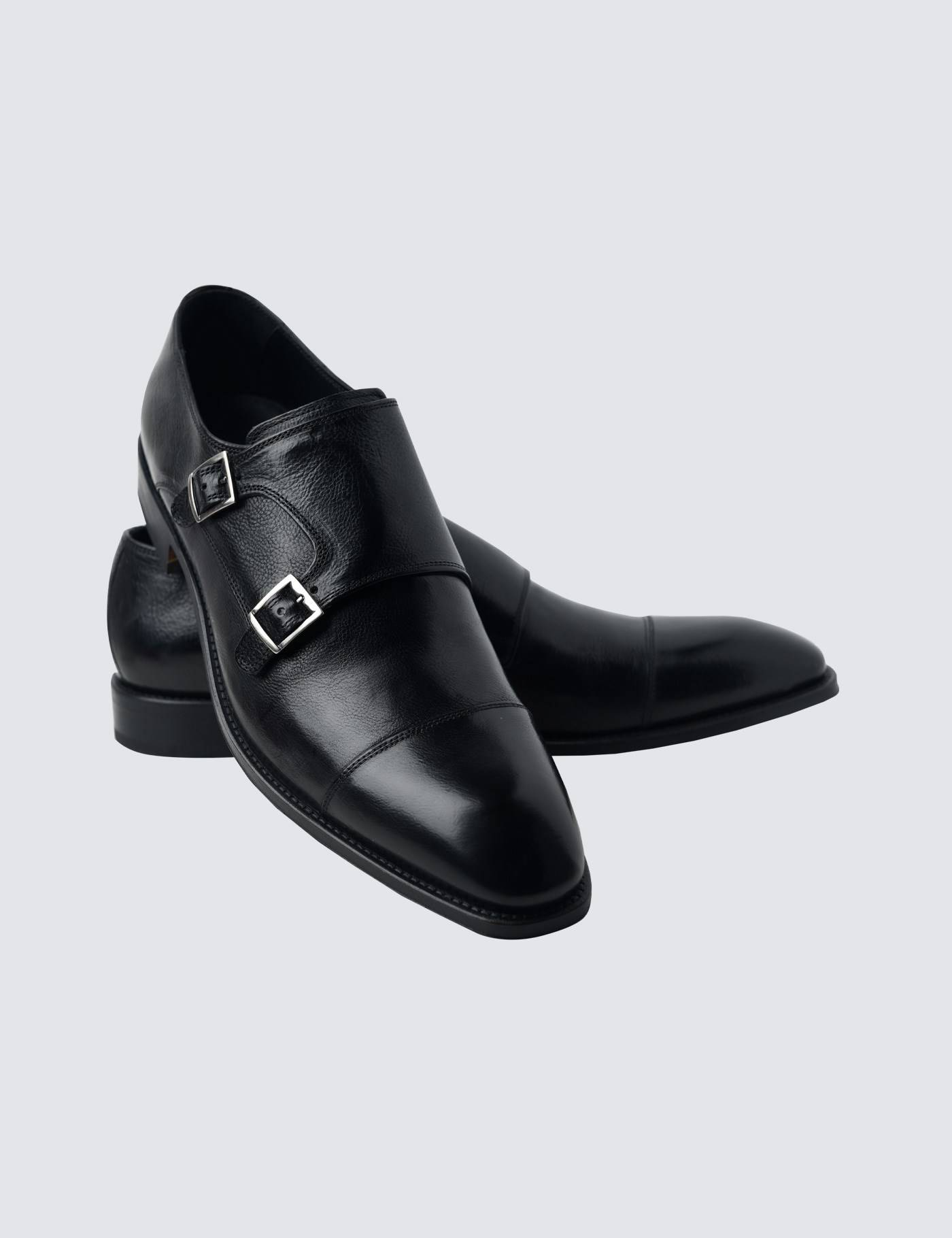 Hawes & Curtis Men's Leather Monk Shoes in Black Size 11