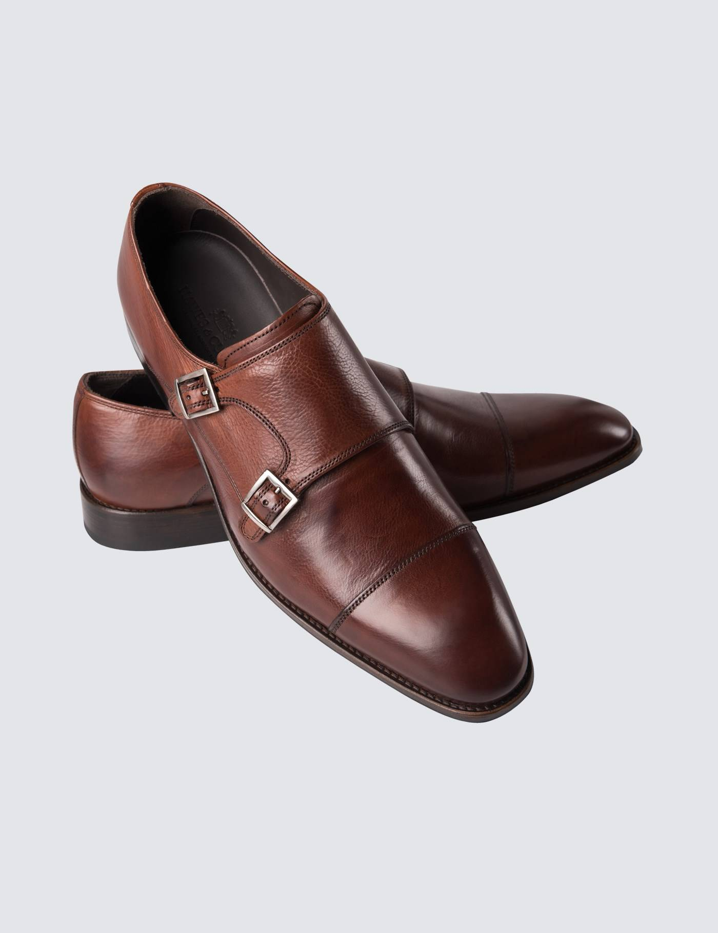 Hawes & Curtis Men's Leather Monk Shoes in Brown Size 9 Hawes & Curtis