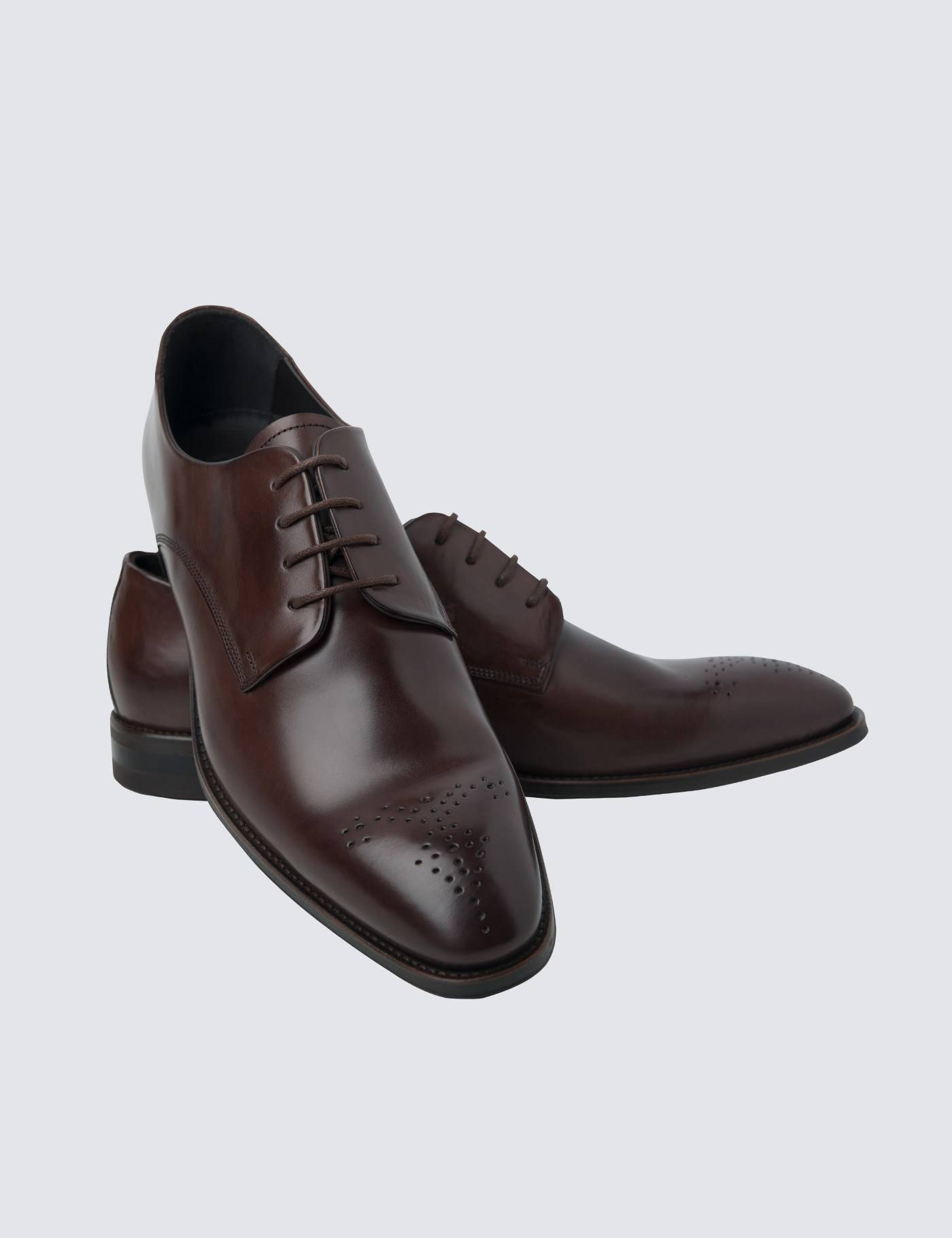 Hawes & Curtis Men's Leather Wholecut Shoes in Brown Size 7