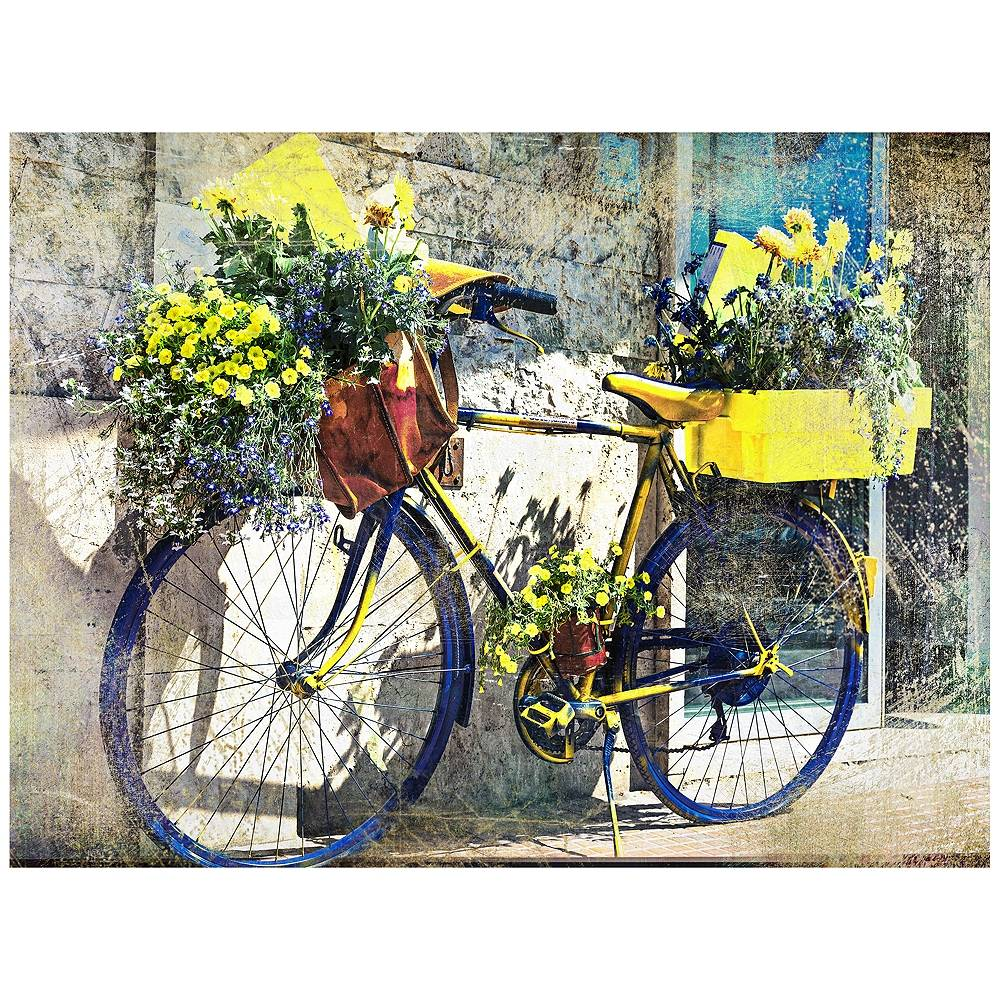 """West of the Wind Blue & Yellow Bike 40""""W Indoor-Outdoor Giclee Wall Art - Style # 10P25"""