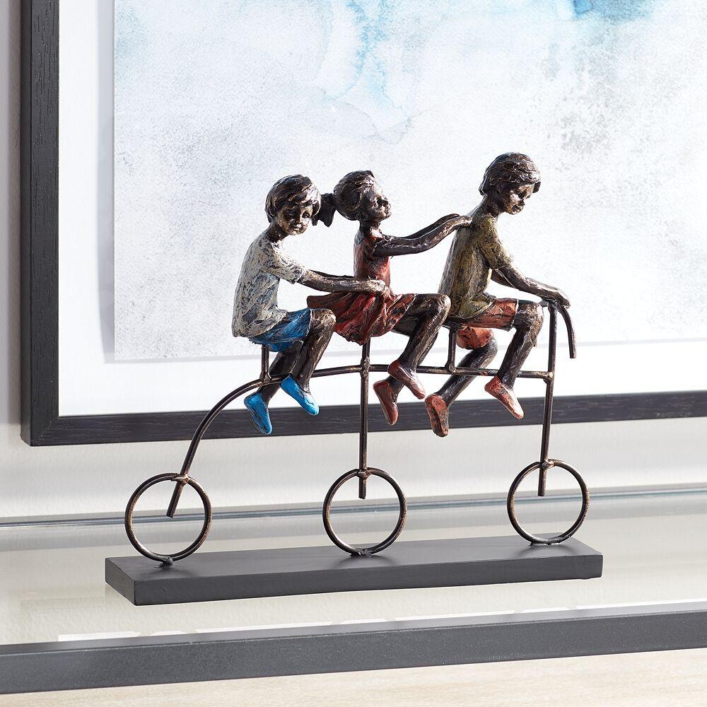 "Graceful Arts Children Riding Bike 12 3/4"" Wide Sculpture - Style # 3Y601"