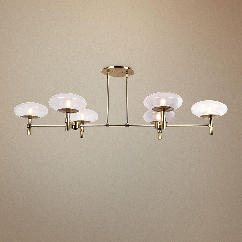 "Access Grand 56 1/4"" Wide Brass LED Kitchen Island Light Chandelier - Style # 47K23"