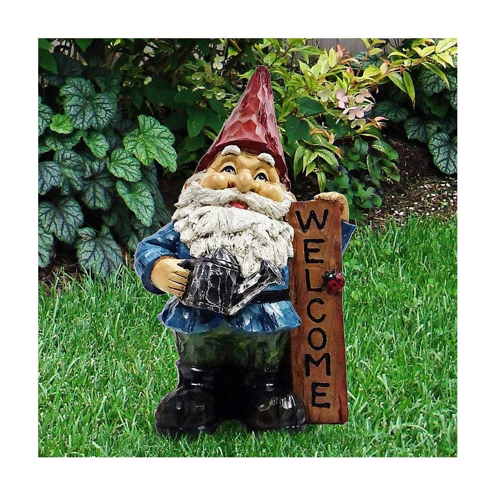 """Universal Lighting and Decor Gnome with Welcome Sign 12"""" High Outdoor Garden Statue - Style # 66G73"""
