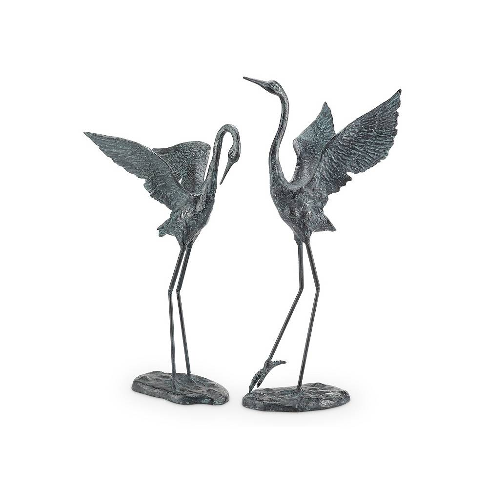 Universal Lighting and Decor Exalted Crane Cast Iron Outdoor Garden Statues Set of 2 - Style # 71E63