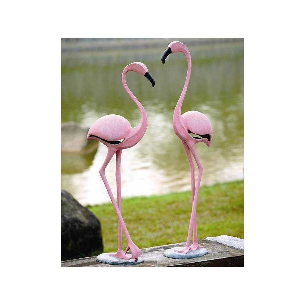 Universal Lighting and Decor Pink Flamingo Aluminum Outdoor Garden Statues Set of 2 - Style # 71F12