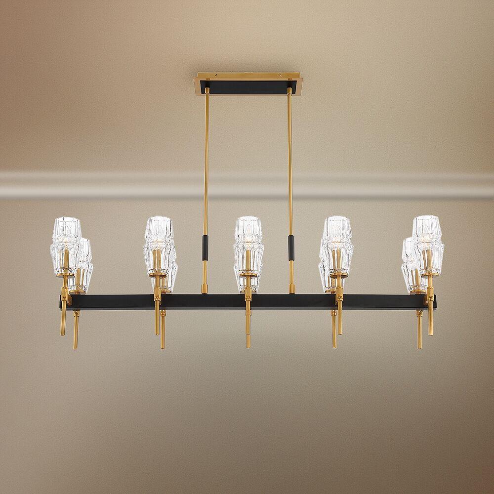 """Eurofase Gladstone 44 1/2"""" Wide Brass Kitchen Island Light Chandelier - Style # 79J50"""
