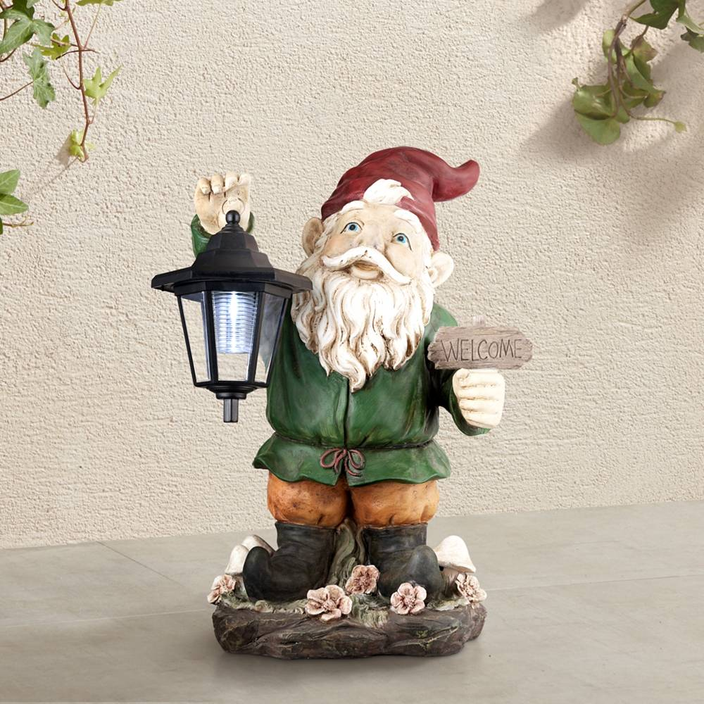 """Gold Spring Welcome Gnome with Lantern 16"""" High Outdoor Garden Statue - Style # 7J452"""