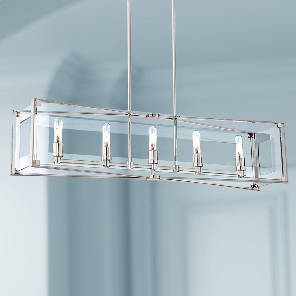 "George Kovacs Crystal Clear 43 1/4""W Nickel Kitchen Island Light Pendant - Style # 8C629"