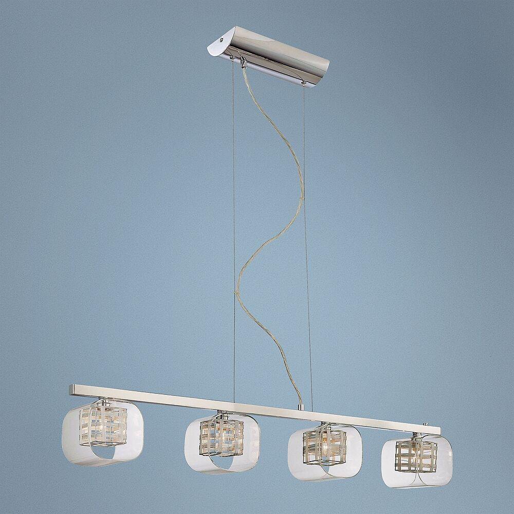"George Kovacs Jewel Box 38 1/2"" Wide Chrome Kitchen Island Light Pendant - Style # N8985"