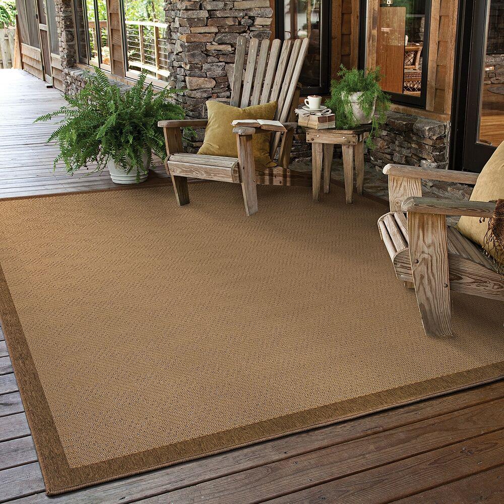"Oriental Weavers Lanai 525D7 5'3""x7'6"" Beige and Brown Outdoor Area Rug - Style # 2N308"