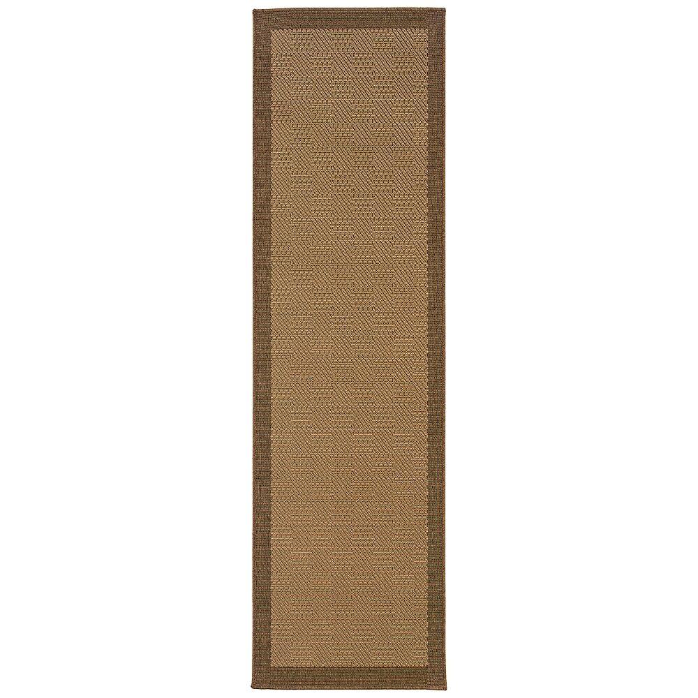 "Oriental Weavers Lanai 525D7 2'3""x7'6"" Runner Beige and Brown Outdoor Rug - Style # 32C20"