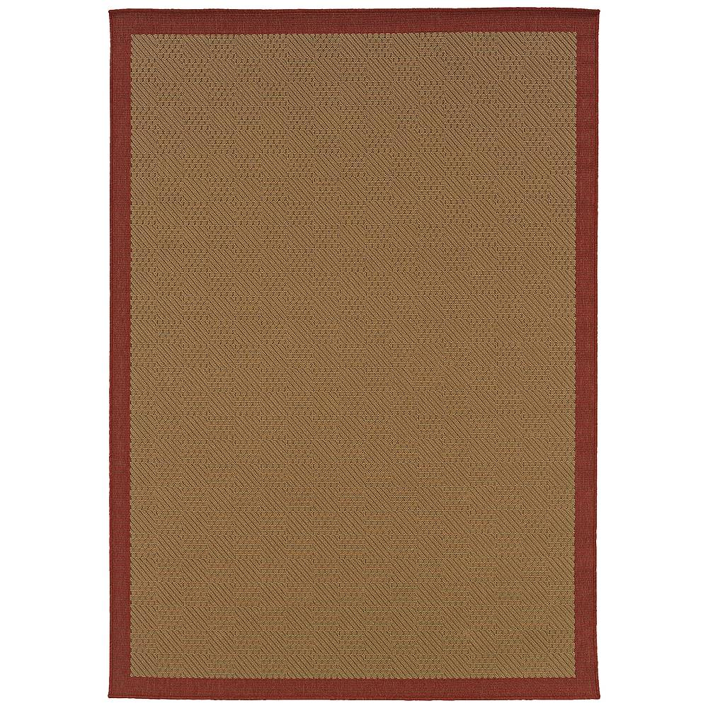 """Oriental Weavers Lanai 525O8 3'7""""x5'6"""" Beige and Red Outdoor Area Rug - Style # 32C46"""